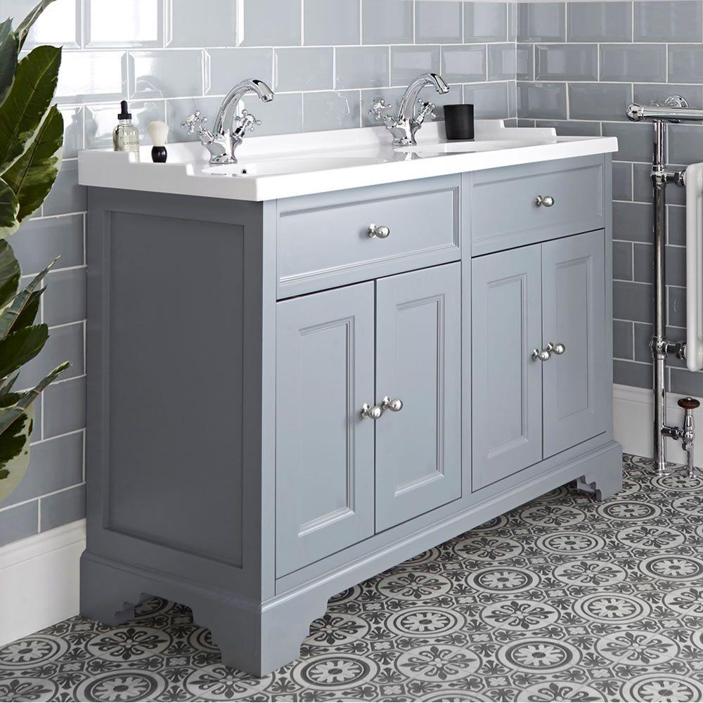 meuble lavabo retro avec double vasques 120 cm gris clair thornton