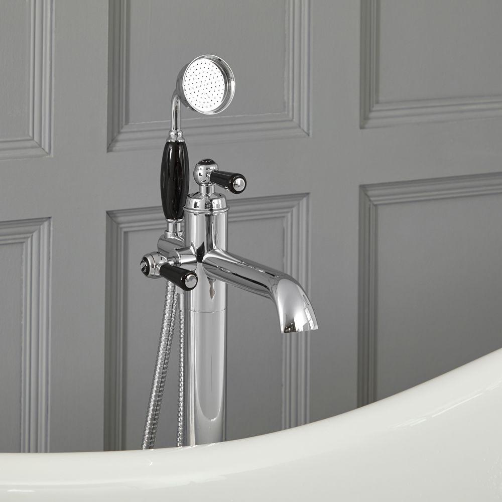 mitigeur bain douche retro en ilot commande levier chrome et noir elizabeth