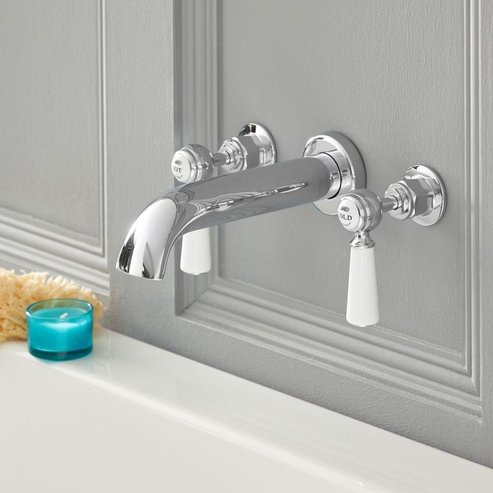 robinet baignoire mural retro a levier 3 trous choix de finitions elizabeth