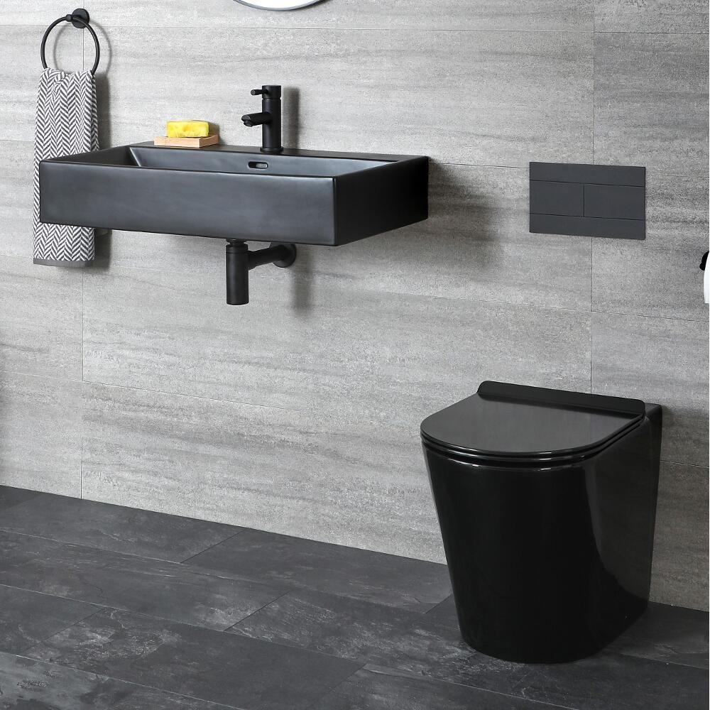 ensemble wc a poser et lavabo suspendu noir nox