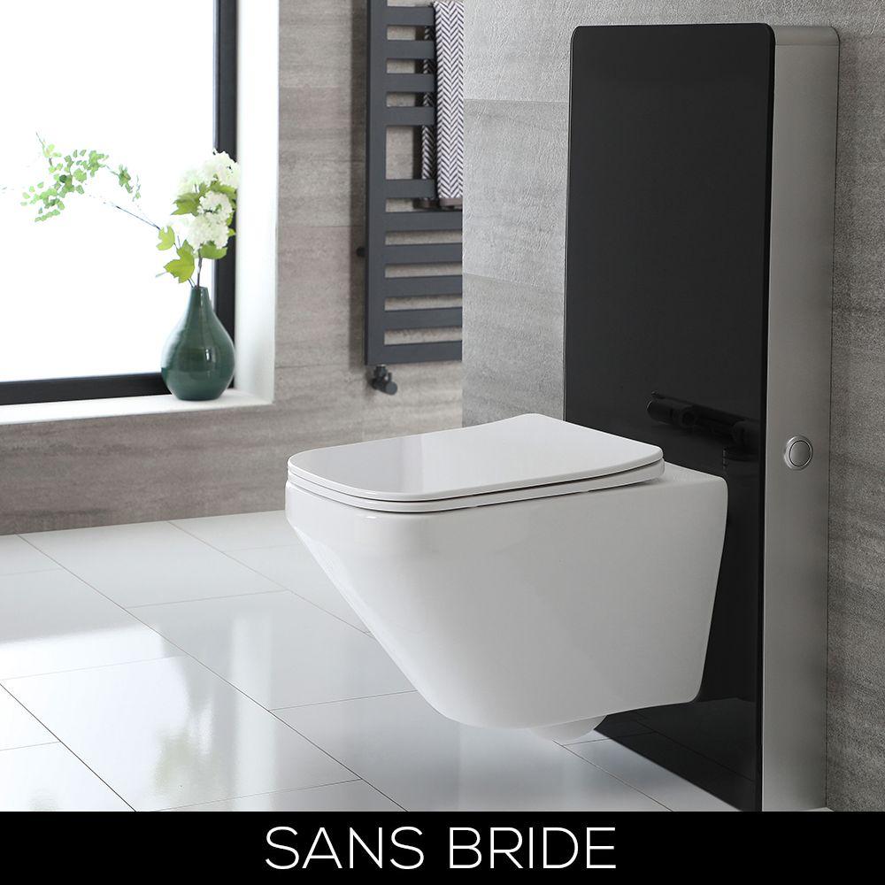 wc suspendu sans bride avec meuble 50 cm noir exton