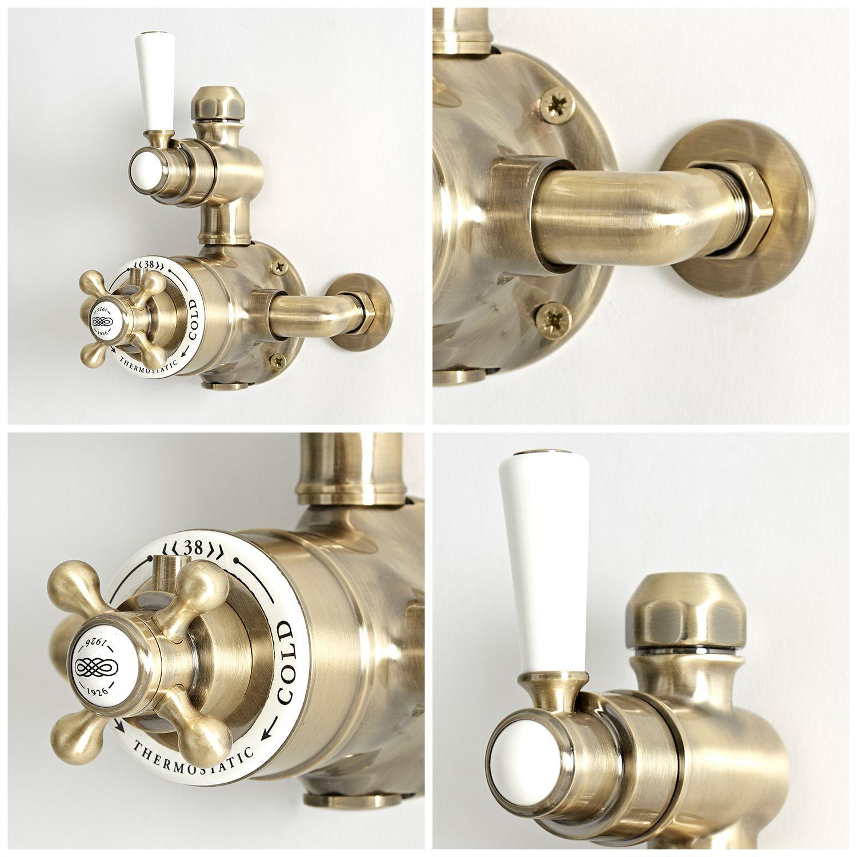 colonne de douche thermostatique retro avec mitigeur expose 2 fonctions et kit douchette sur rampe or brosse elizabeth