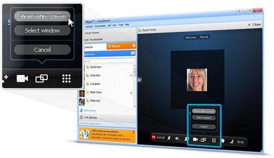 entire screen skype sharing options