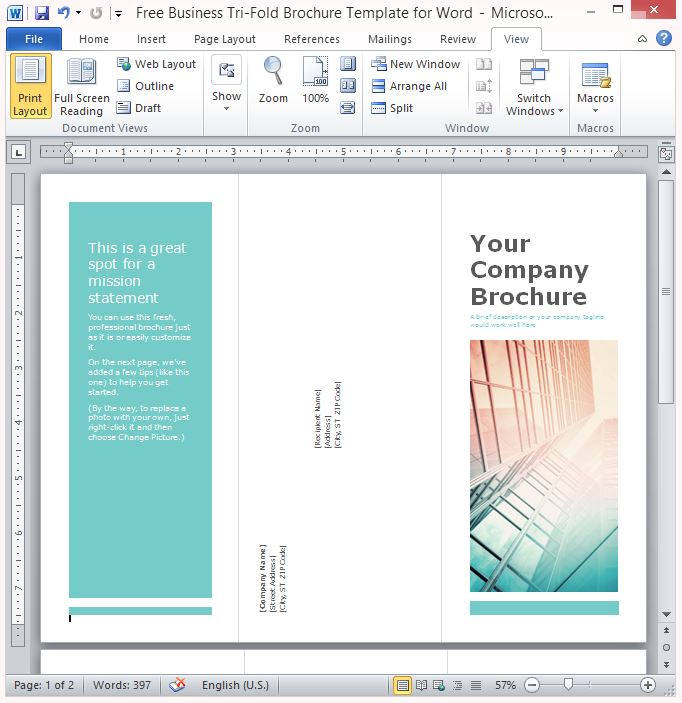 Free Business Tri Fold Brochure Template For Word