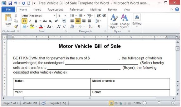Car Sale Template. vehicle bill of sale freewordtemplates net ...