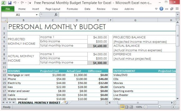 Budgeting Template For Excel. download the free microsoft monthly ...