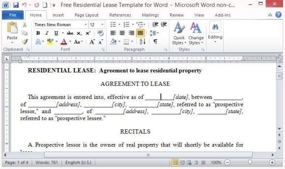 Residential Lease Template Free. Residential Lease Agreement Free