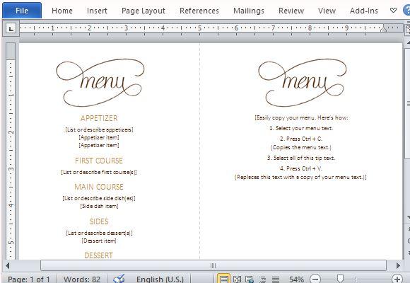 Menu Template For Word menu template word menu design templates – Free Menu Templates for Word