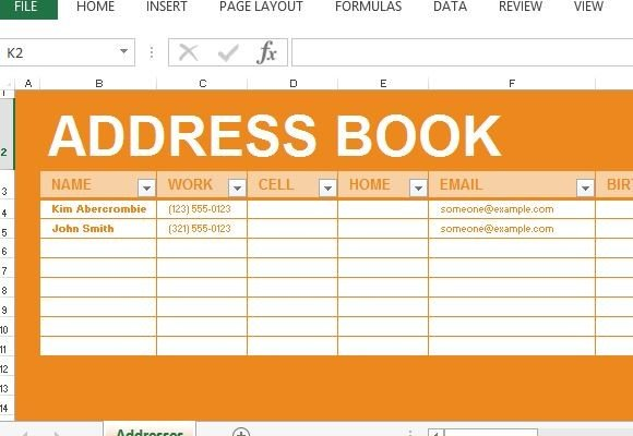 Address Template Excel. 4 Excel Address Book Template Itinerary