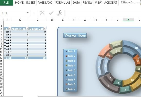 21st Century Donut Chart Template For Excel