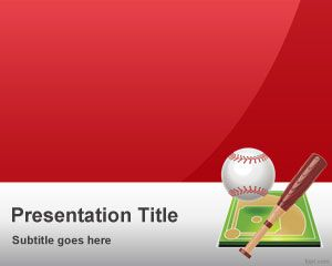 Free Red Baseball PowerPoint Template
