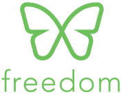 Freedom logo (a green butterfly and the word 'freedom'