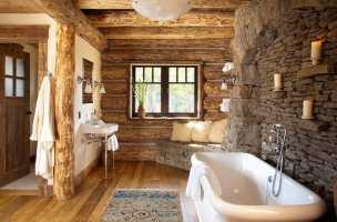 landhausstil im badezimmer gestalten mit rundholz und ...
