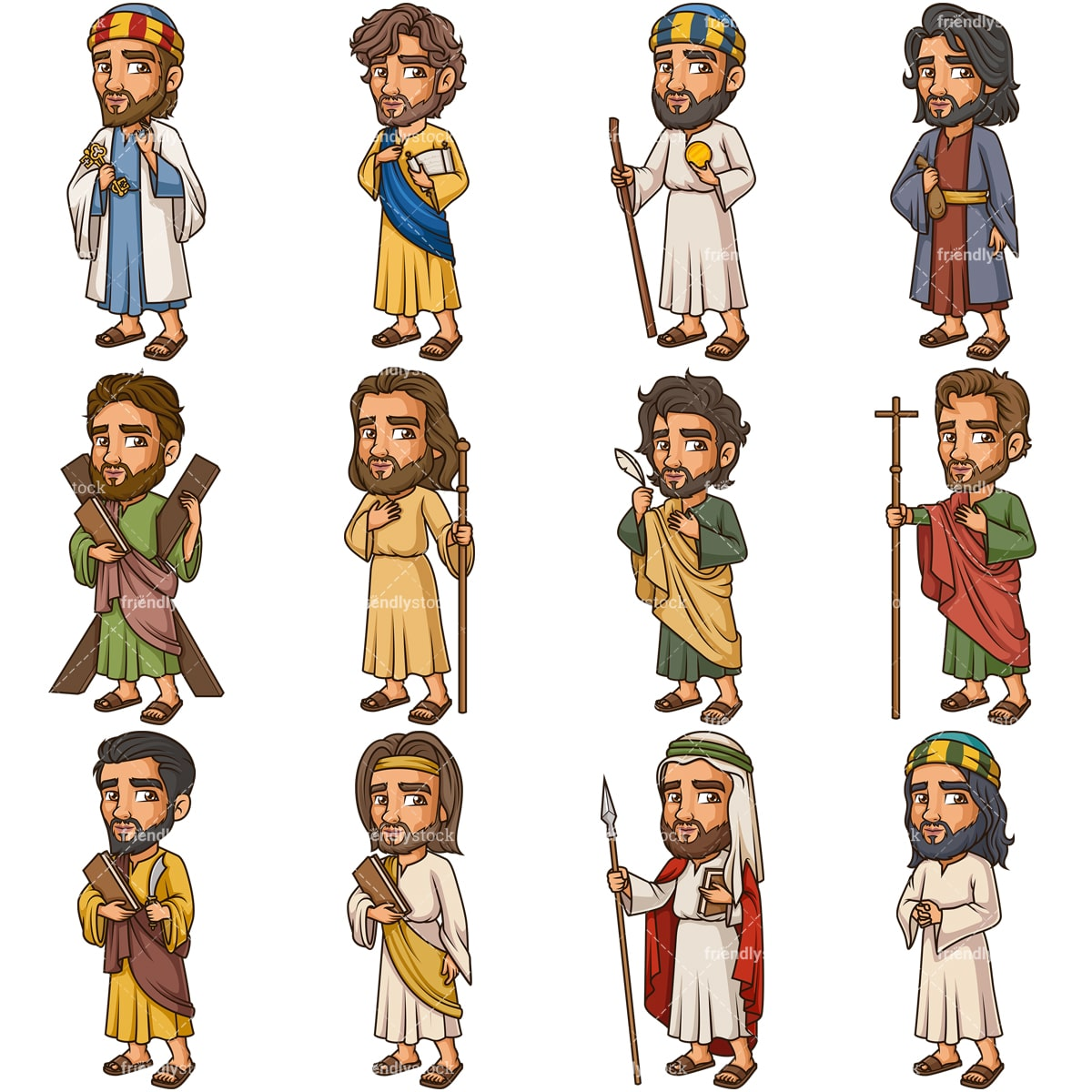 Jesus Christ Disciples And Apostles Cartoon Vector Clipart