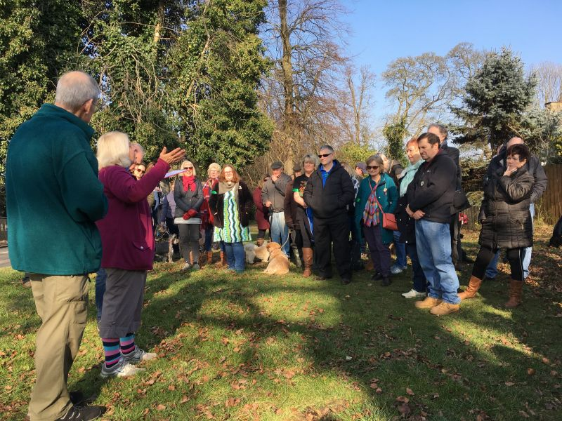Michael and Angela Green talk to protestors against tree felling