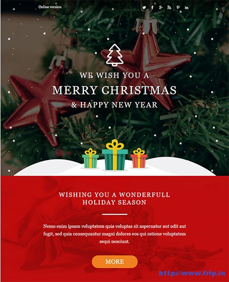 20 Best Christmas   New Year Email Templates 2017   Frip in Christmas Responsive Email   StampReady Builder