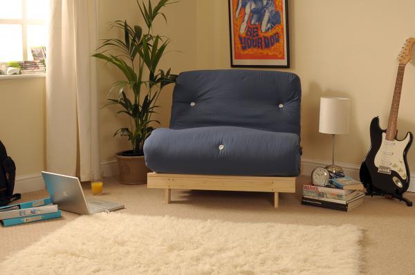 Single 2ft6 75cm Luxury Futon Wooden Frame Sofa