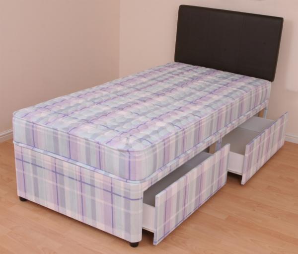 Single Divan Bed 3ft Orthopaedic Mattress Melissa Slide Drawer Storage