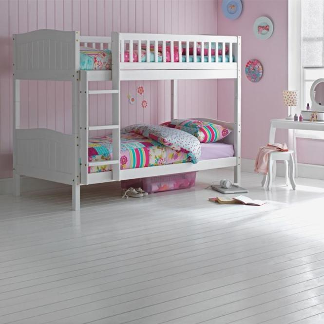Wooden Bunk Bed Kids Childrens White 3ft Single Rosa With Mattress Option