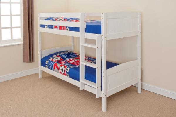 Wooden Bunk Bed Kids Childrens Single Pine Or White 3ft Christopher 2 Mattress