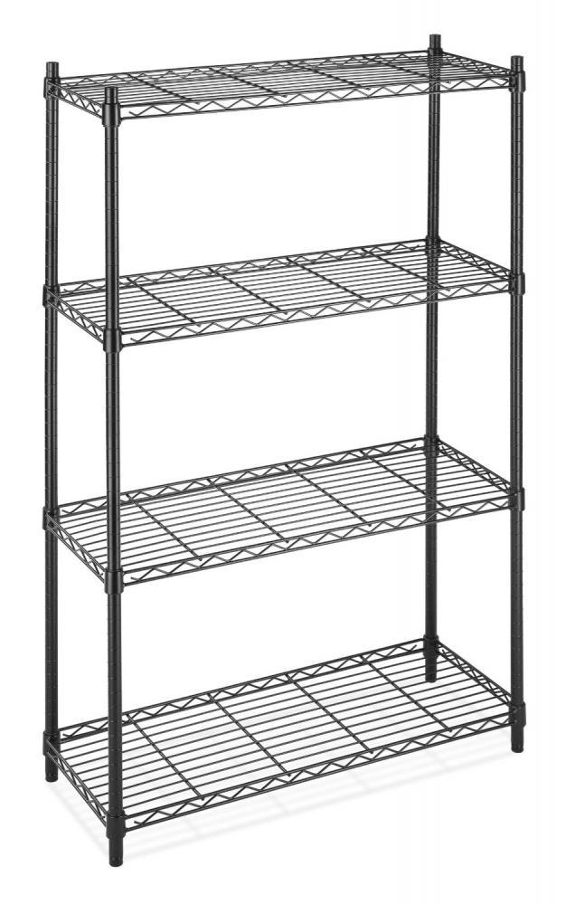 Black Commercial Tier Shelf Adjustablesteel Wire Metal Shelving Rack