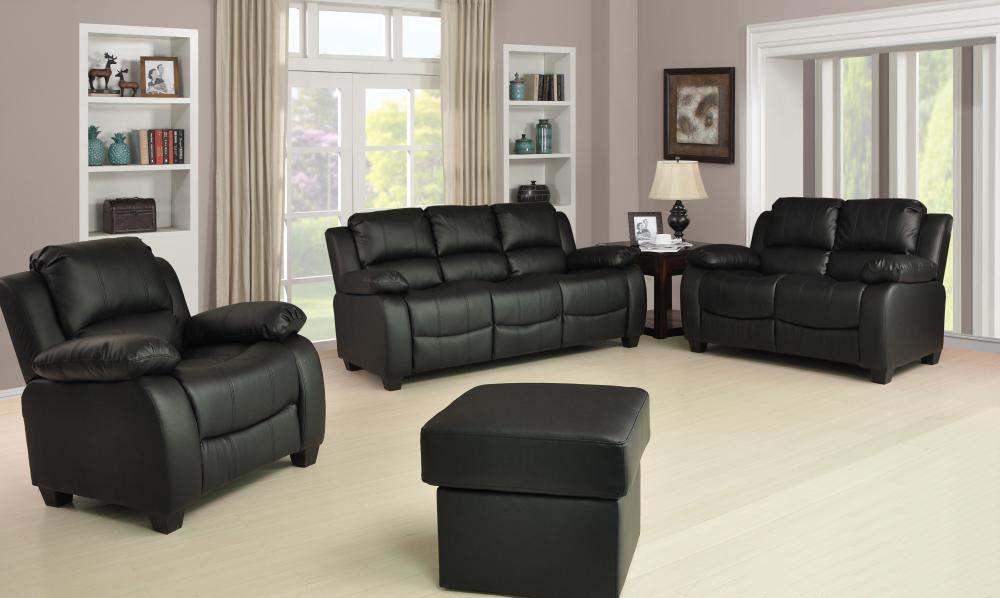 New Valerie Luxury Leather Sofa Suite Black Brown Cream 321 Three Piece Pouffe EBay