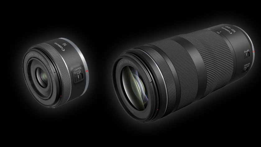 The Canon RF 16mm f/2.8 STM and RF 100-400mm f/5.6-8 IS USM placed side by side.