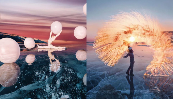 Photographer Shoots Fashion Images on Top of the World's Deepest Lake