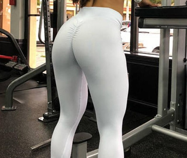 White Pleated High Waisted Yoga Workout Sports Big Booty Long Legging