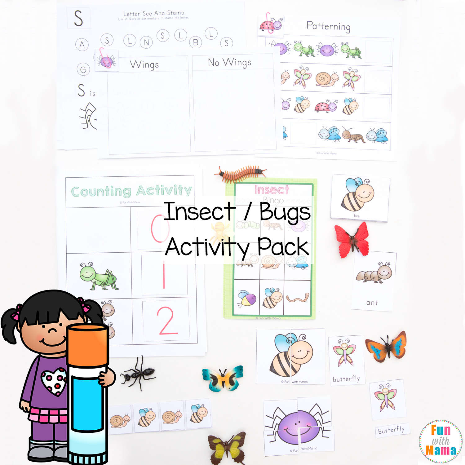 Insect Bugs Printable Activity Pack For Preschoolers