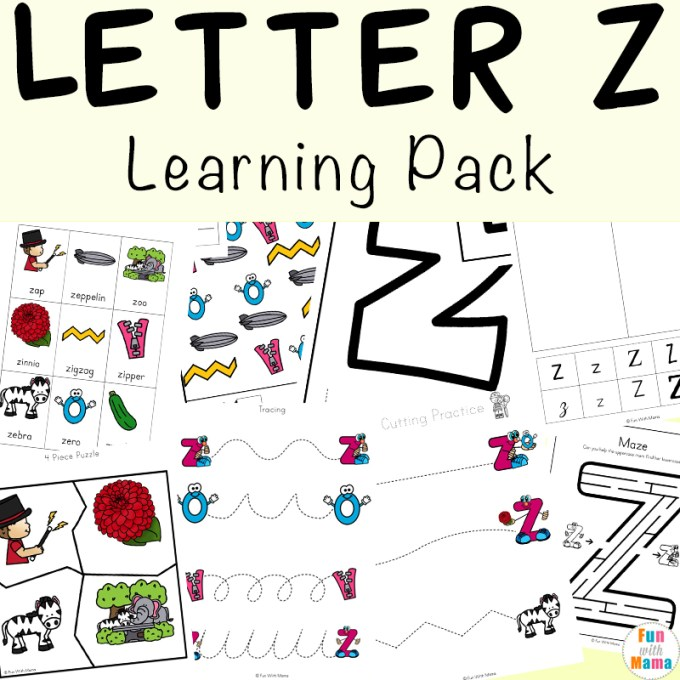 Letter Z Words Preschool Save Template