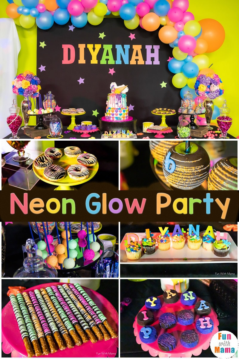 Neon Party Glow In The Dark Party For 6th Birthday Party Fun With Mama