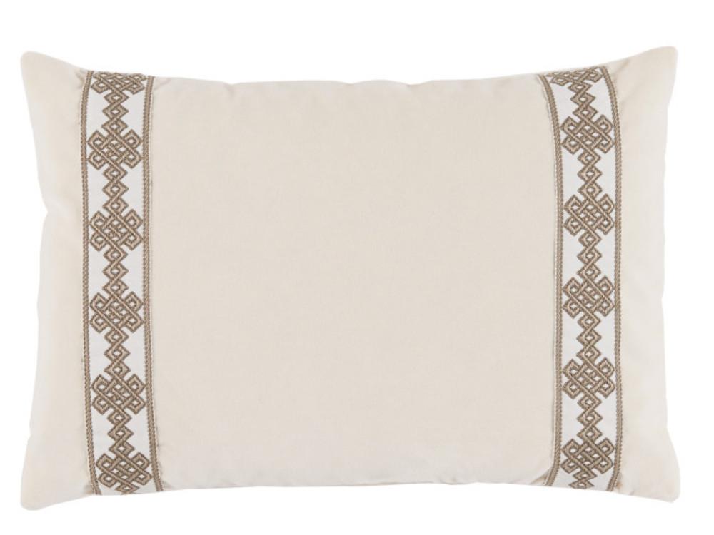 neutral velvet lumbar throw pillow