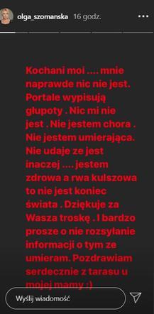 M jak miłość: Olga Szomańska explains how she feels