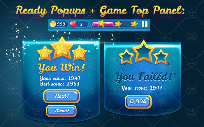 Download Magical Glossy Blue Game UI Pack | GameDev Market