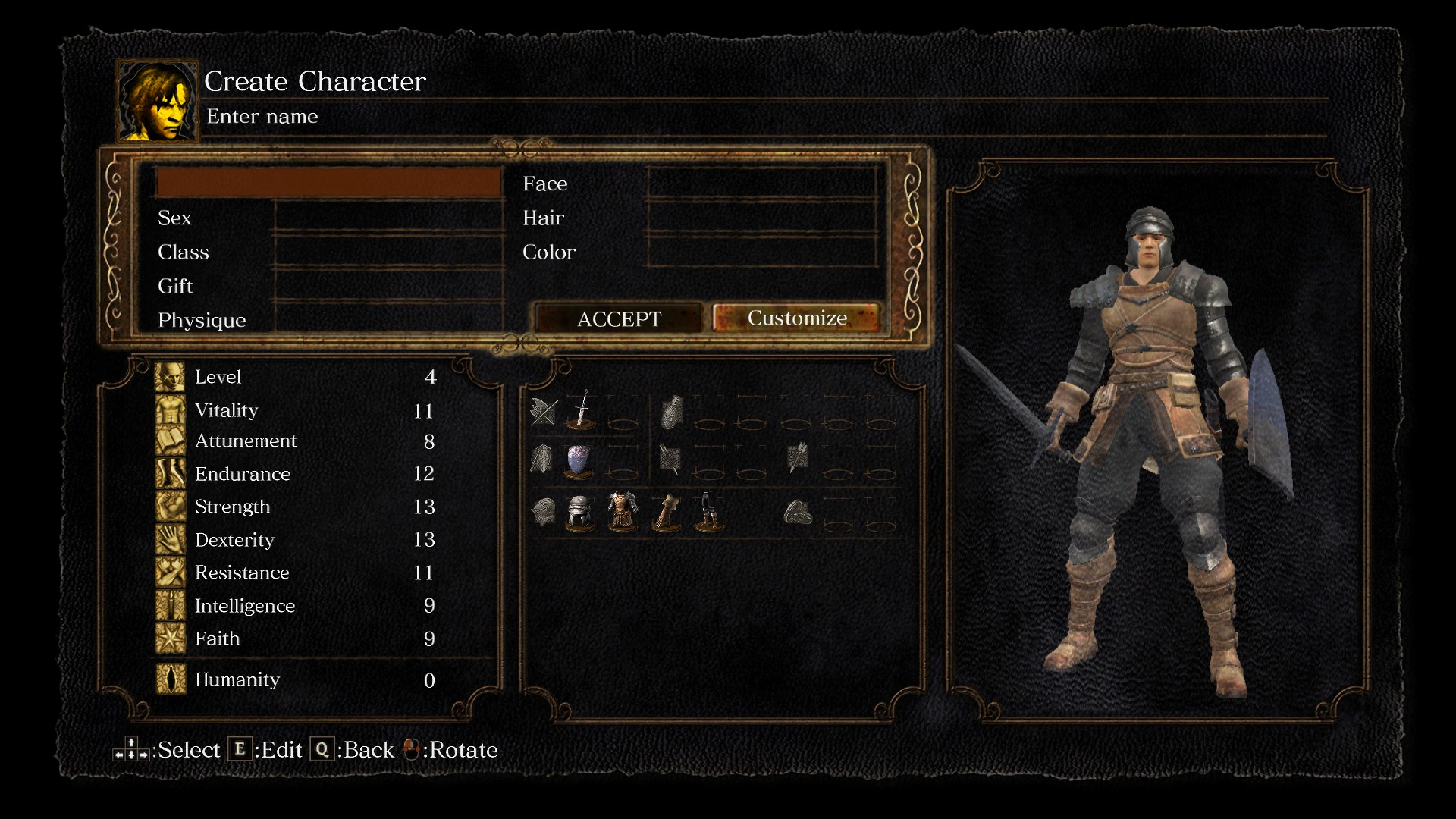 Dark Souls Remastered Guide   Tips  Tricks  Controls  Character     Firstly select your class  the options for which you can see just below  As  you scroll through the classes  you ll see that the attributes on the left