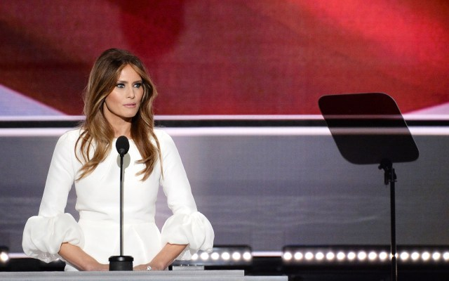 Melania Trump, wife of presumptive Republican presidential candidate Donald Trump, addresses delegates on the first day of the Republican National Convention at Quicken Loans Arena in Cleveland, Ohio on July 18, 2016. The Republican Party opened its national convention, kicking off a four-day political jamboree that will anoint billionaire Donald Trump as its presidential nominee. / AFP PHOTO / Robyn Beck