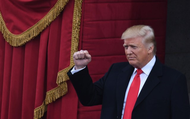 US President-elect Donald Trump gestures before being sworn in as President on January 20, 2017 at the US Capitol in Washington, DC. / AFP PHOTO / Mark RALSTON