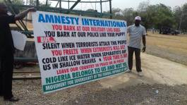 Image result for Demonstrators want Amnesty International to leave Nigeria
