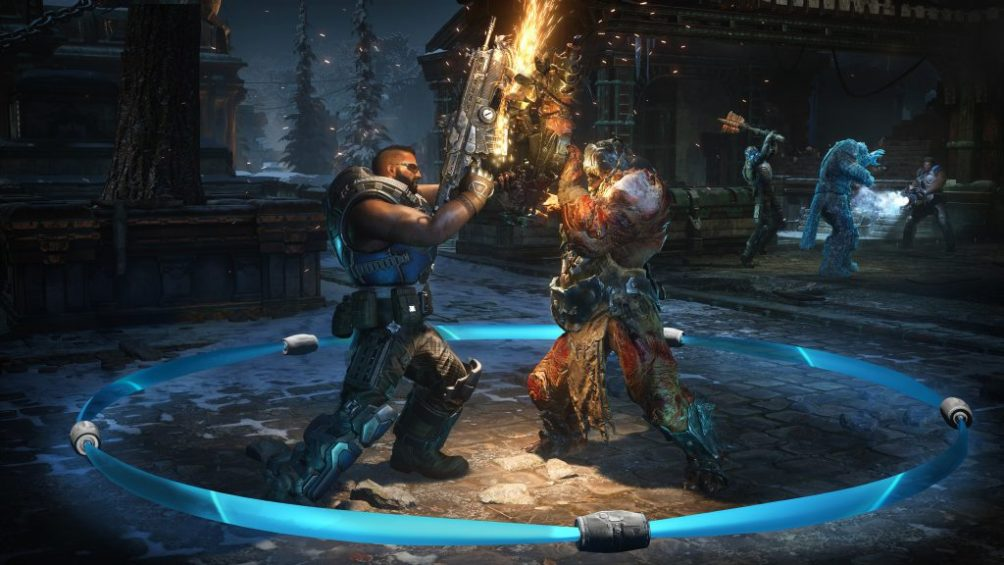 A COG soldier and Swarm Drone are locked in dueling weapon battle in a dark courtyard. Sparks fly off a Lancer chainsaw. Behind, Del has frozen another Swarm Drone. while a COG Soldier runs up behind the frozen enemy to smash him to pieces.