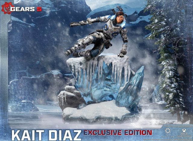 First 4 Figures exclusive edition statue depicting Kait Diaz, including armor LEDs, vaulting over a cliff of ice.