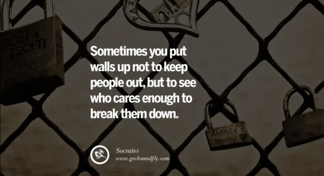 quotes about love Sometimes you put walls up not to keep people out, but to see who cares enough to break them down. - Socrates instagram pinterest facebook twitter tumblr quotes life funny best inspirational