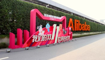 Singles' Day from Alibaba HQ: Employees pitch tents to prepare for huge online shopping event
