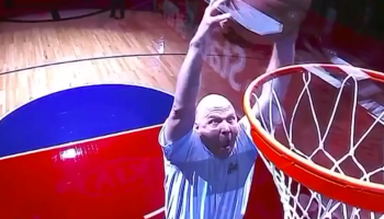 Watch former Microsoft CEO Steve Ballmer dunk off a trampoline at a Clippers game