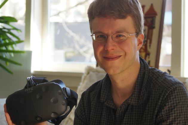 Limitless CEO Tom Sanocki with the HTC Vive.