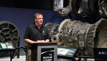 David Concannon with Apollo rocket engines