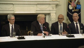 Trump thanks Apple's Tim Cook for jobs expansion, but where's the love for Jeff Bezos and HQ2?
