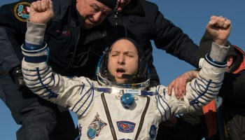 Three spacefliers get a wintry homecoming after leaving International Space Station
