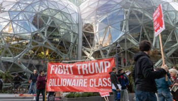 Video: Affordable housing activists protest at Amazon HQ, demanding higher taxes on corporations
