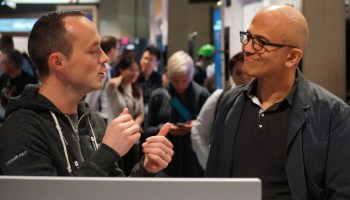 Microsoft CEO Satya Nadella walks the floor at Build conference, chats with developers and (almost) pets a pony